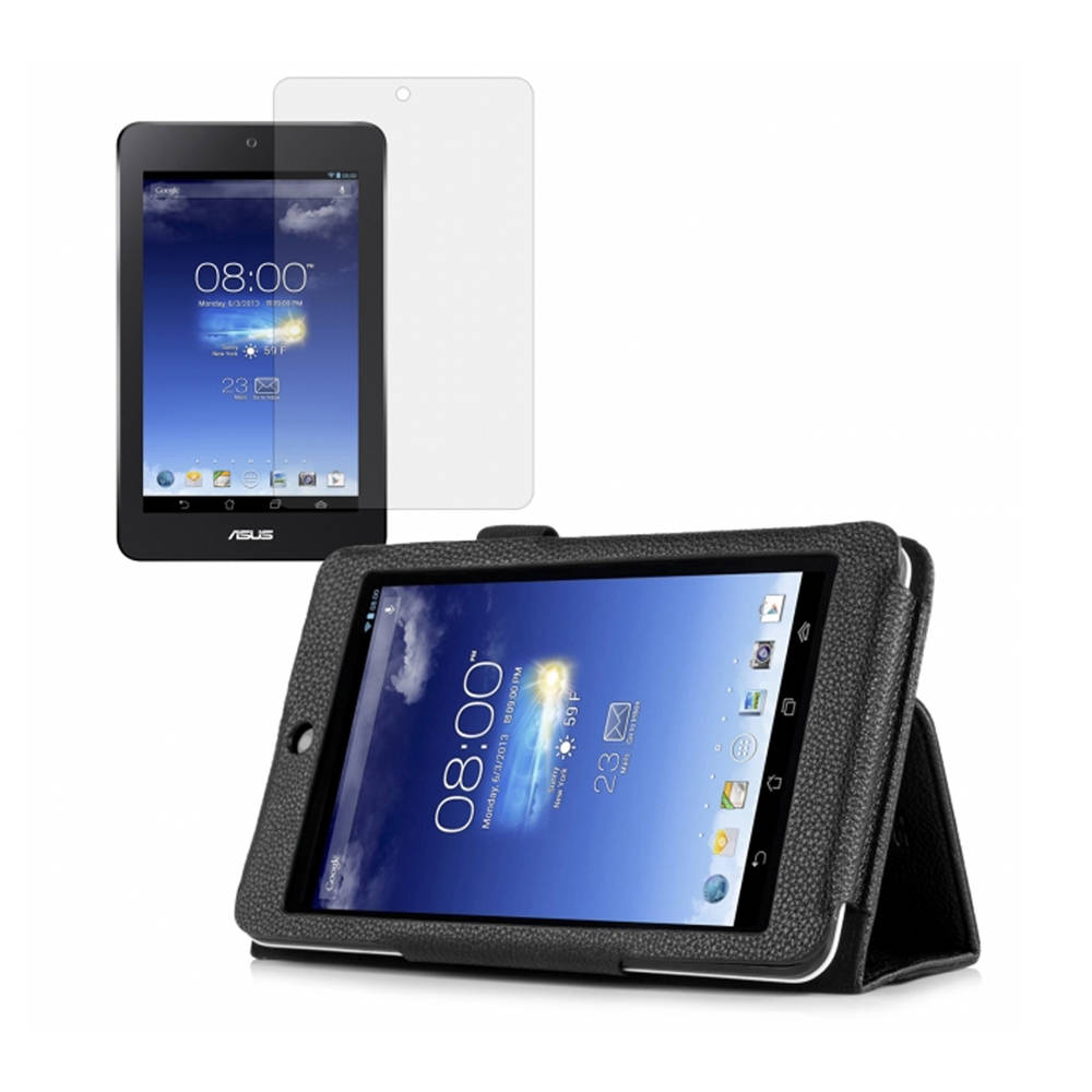 Black Double-Fold Folio Case with Screen Protector for ASUS MeMO Pad HD 7 (ME173X)