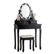 Giantex Lighted Vanity Mirror Set Makeup Dressing Table w/ 3 Drawers Mirror & 10 LED Bulbs Black