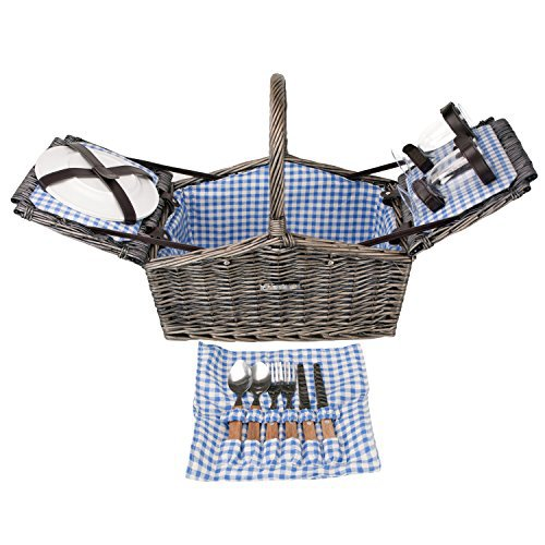 Zelancio Deluxe Wicker Picnic Basket, Double Lid Service for Two Fully Loaded by