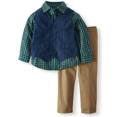 Tweed Vest, Woven Button-up Shirt & Twill Pants, 3pc Outfit - Minion Dressing Up Outfit