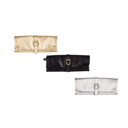 Vegan Leather Jewelry Roll, 3 Asst, Black, Silver, Gold ()