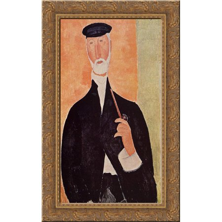 Notary Wood - Man with a Pipe (The Notary of Nice) 17x24 Gold Ornate Wood Framed Canvas Art by Modigliani, Amedeo