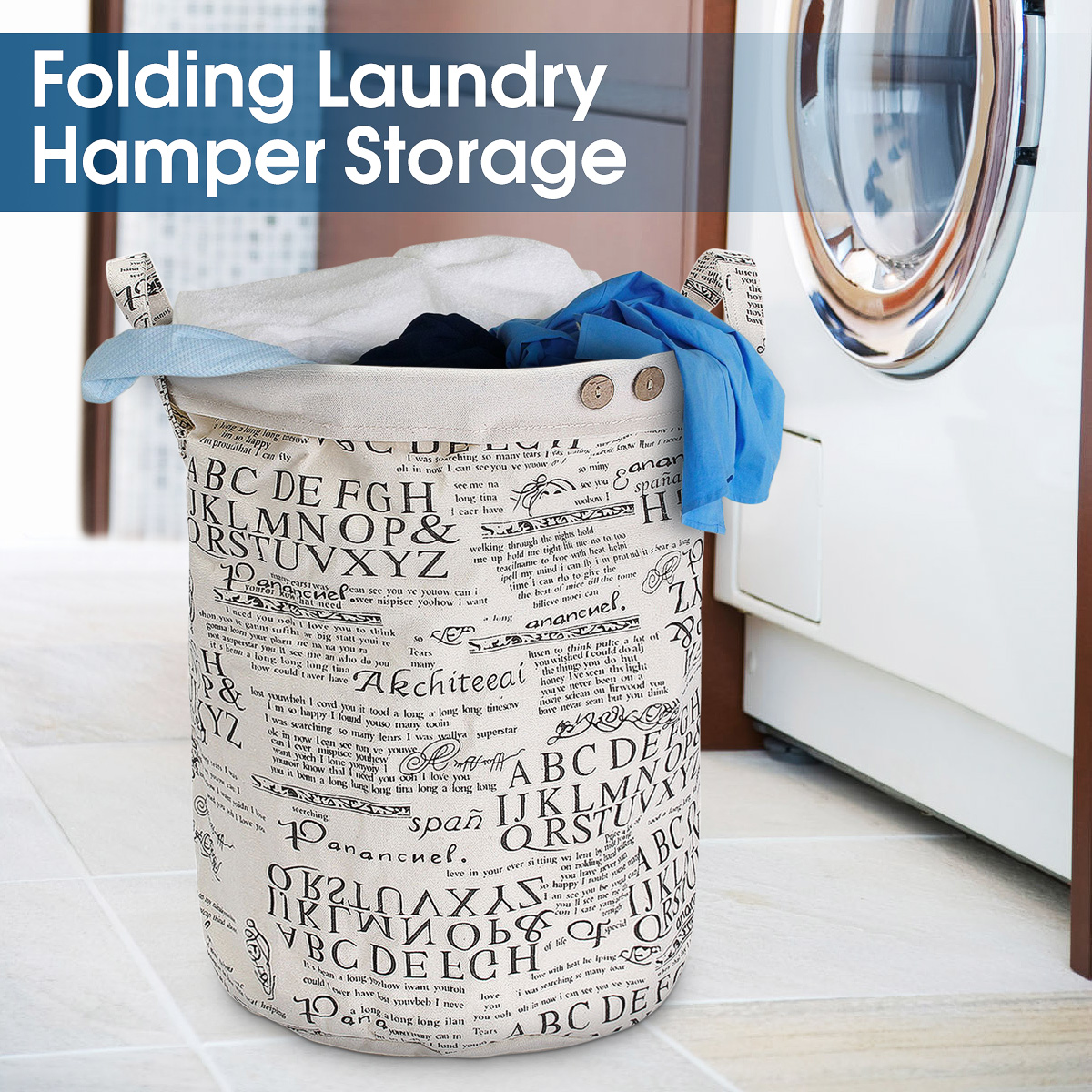 Foldable Cotton Washing Laundry Basket Hamper Linen Sorter Clothes Storage Bag
