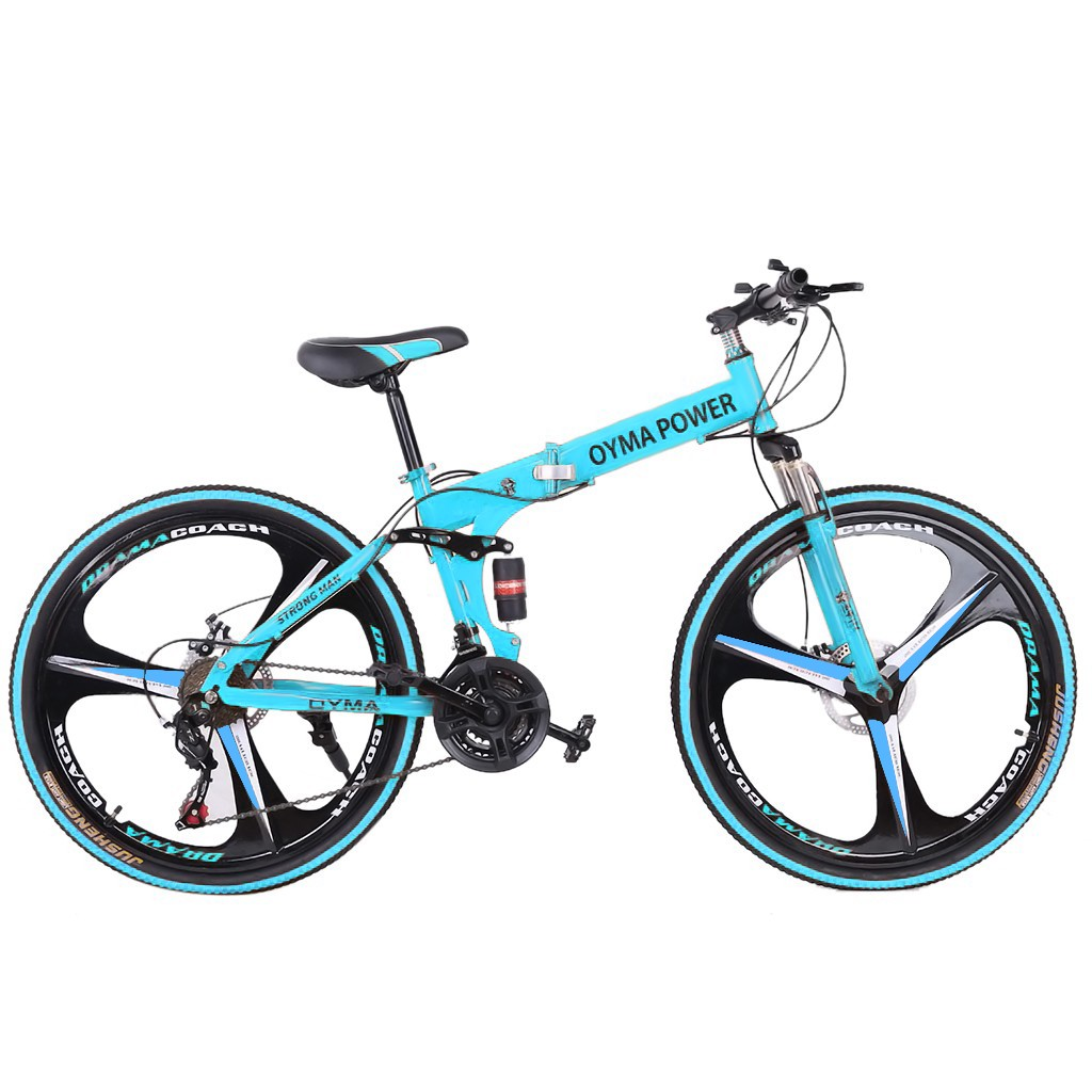 "Folding Mountain Bike 26/"" Full Suspension Bicycle 21 Speed MTB Mens bikes Outdoo"