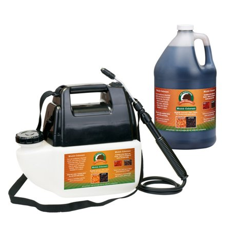Bare Ground MCBPS-1BL Just Scentsational Bark Mulch Colorant Preloaded Battery Powered Gallon Sprayer - Black (Red Mulching Plastic)