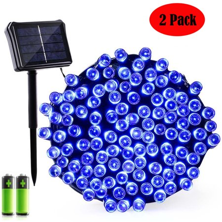 2PACK Qedertek Dual Solar Battery String Lights,72ft 200 LED Patio Decoration String Lights for Indoor Outdoor, Garden, Patio, Fence and Holiday Decorations(Blue)