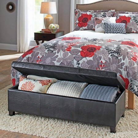Better Homes Gardens Faux Leather Storage Ottoman Multiple Colors