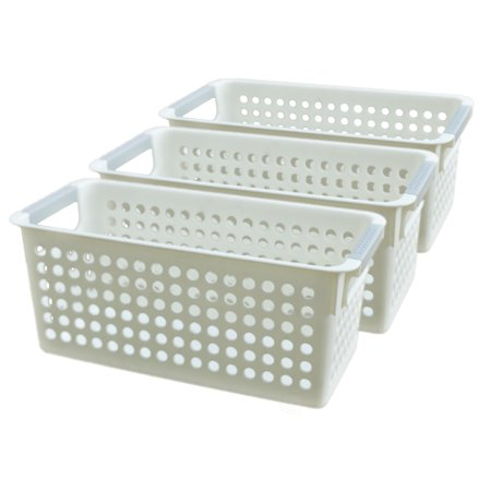 Plastic Baskets With Handles (White Rectangular Plastic Shelf Organizer Basket with Handles Set of)