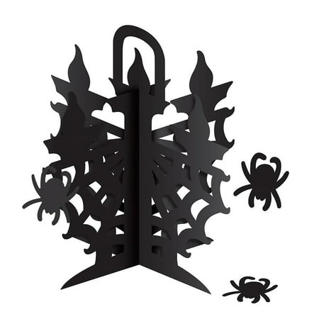Floor Candelabra Halloween (Club Pack of 12 Black 3-D Spiderweb Candelabra Halloween Centerpiece)