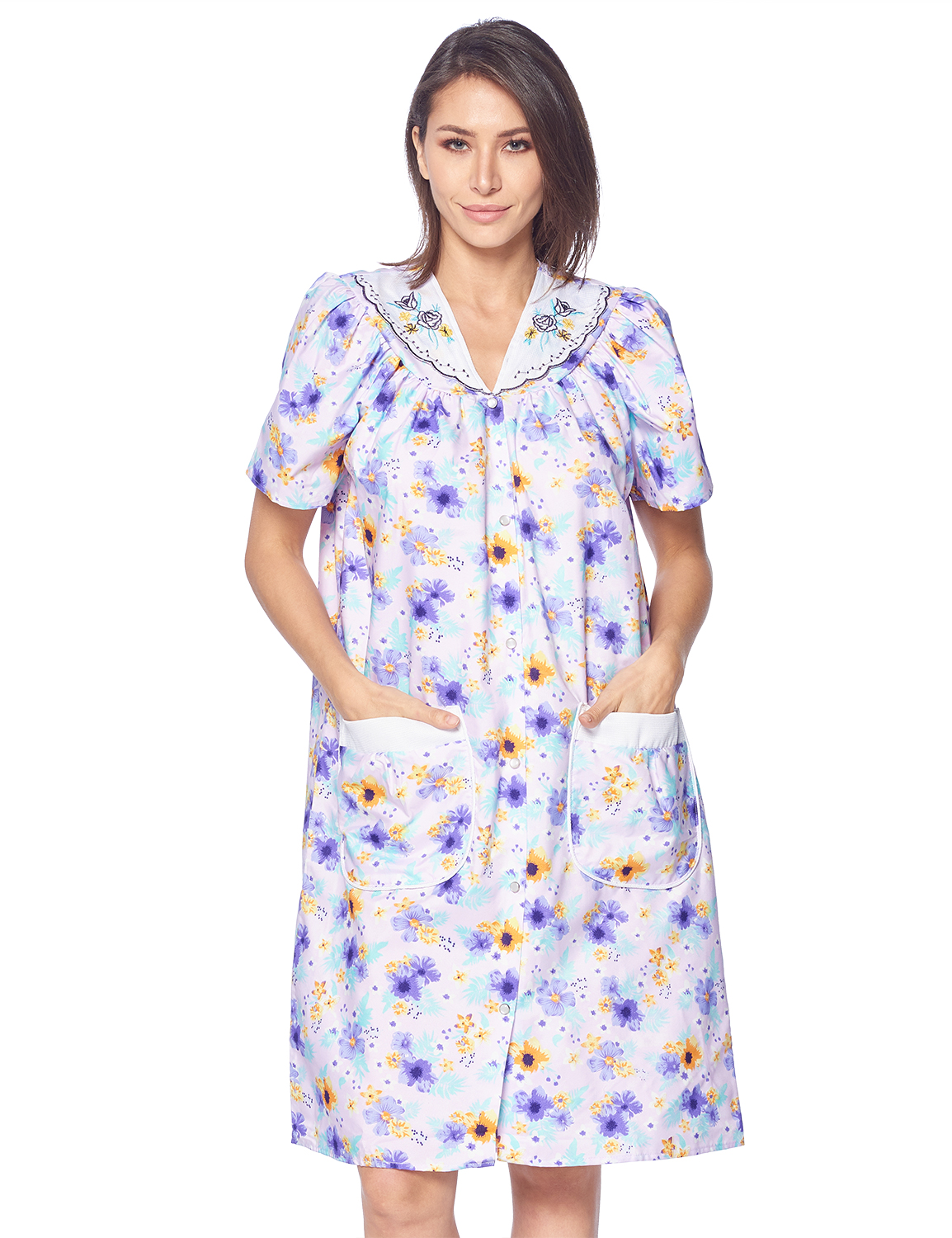 Casual Nights Women's Snap Front House Dress Short Sleeve Woven Housecoat Duster Lounger Robe, Floral Purple, Medium