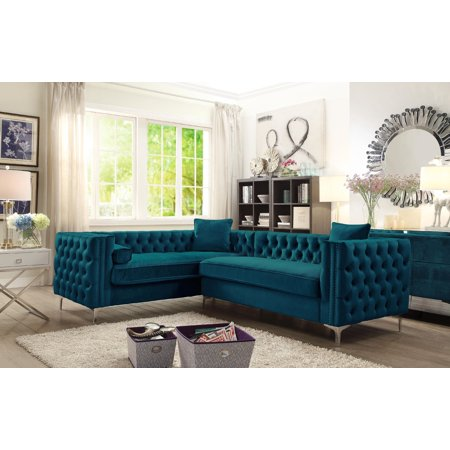 Chic Home Susan Left Hand Facing Sectional Sofa L Shape Velvet On Tufted With Silver Nail