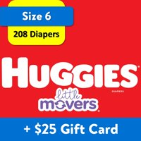 [$25 Savings] Buy 2 Huggies Diapers Little Movers, Size 6, 104  Ct with $25 Gift Card