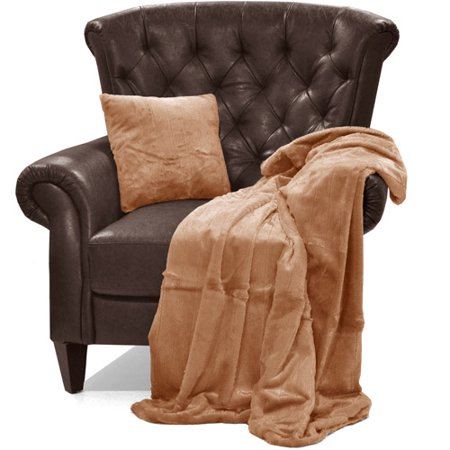2 Piece Faux Fur Pillow Throw Set Brown Walmartcom