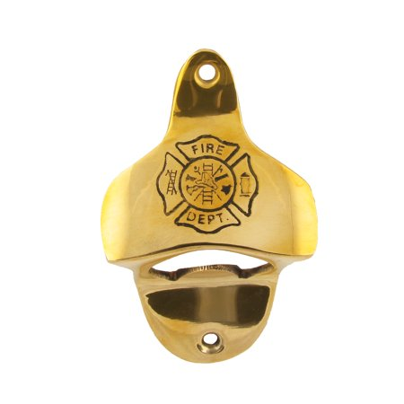 Brass FD Fire Dept. Wall Mount Beer/Soda/Pop Bottle Cap Top Opener Bar/Pub - Wall Mount Bottle Openers