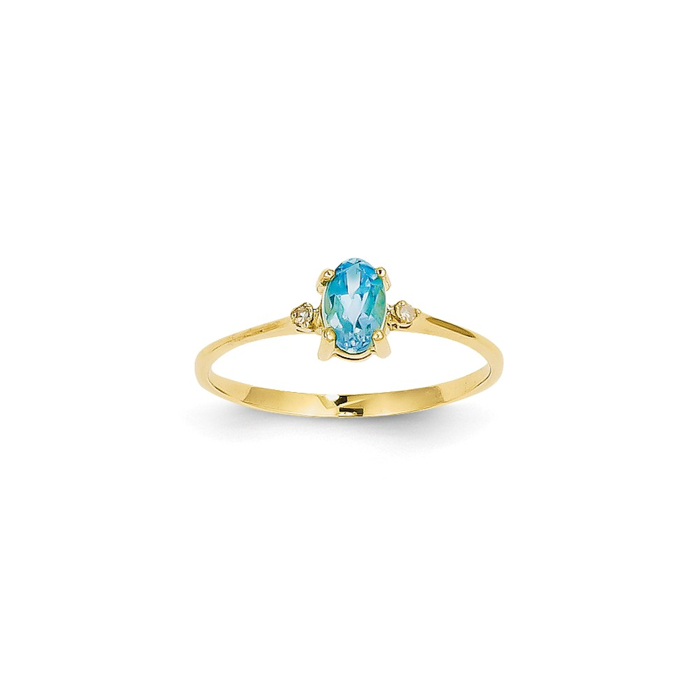 14k Yellow Gold Diamond & 6x4 Oval Blue Topaz Birthstone Ring Carat Wt- 0.018ct