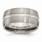 Solid Titanium Grooved 10mm Men's Matte Brushed Finish and Wedding Band Ring Size 10.5