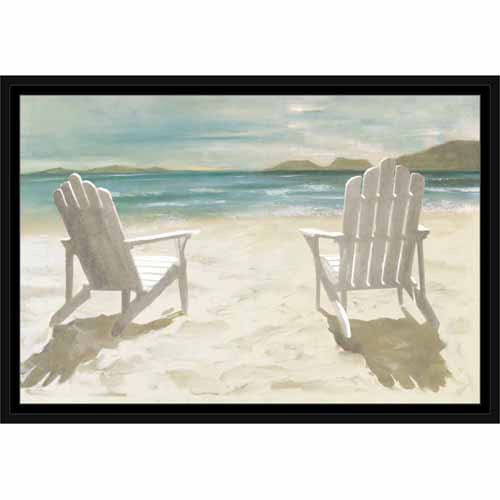 Two Adirondack Chairs on Sandy Beach Coastal Painting Blue & Tan, Framed Canvas Art by Pied Piper Creative
