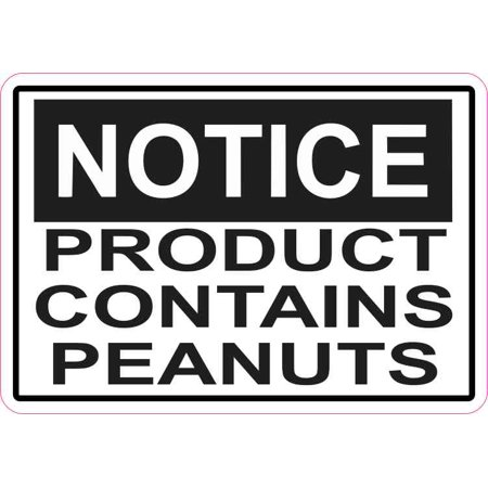 5in x 3.5in Notice Product Contains Peanuts Magnet Magnetic Vinyl Sign (Peanut Allergy Sign Halloween)