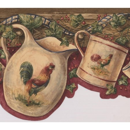 White Cup Kettle with Rooster Hanging on Hooks Red Berries Maroon Vintage Wallpaper Border Retro Design, Roll 15' x 7.5