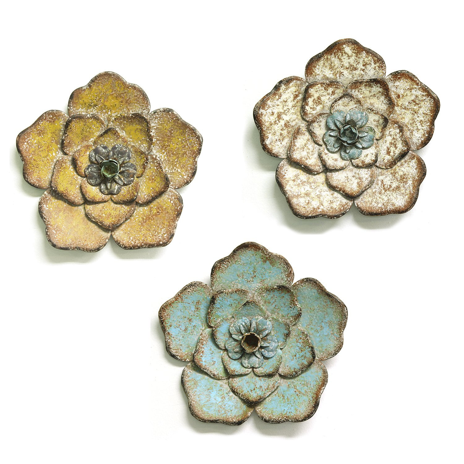 Set Of 3 Rustic Flower Wall Decor