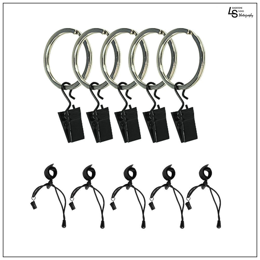 5 Piece Ring Clip Holders with Background Stretch Band for Muslin Fabric Backdrop by Loadstone Studio WMLS0886