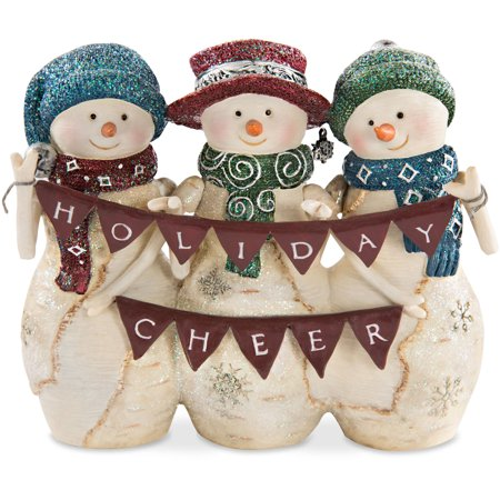Pavilion - Holiday Cheer 4 Inch Triple Snowman Figurine Winter Christmas Decor