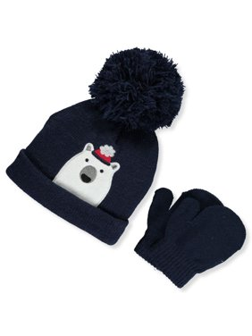 First Steps by Stepping Stones Baby Boys' Polar Bear Pom Pom Knit Hat & Mittens Set