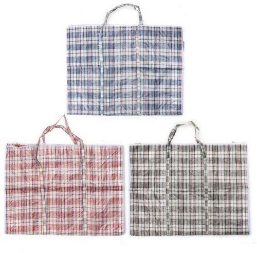 Reusable Large Printed Woven Laundry Bag Storage Zipped Shopping Bag