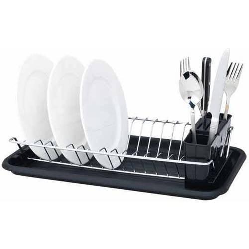 Home Basics Compact Dish Drainer, Black