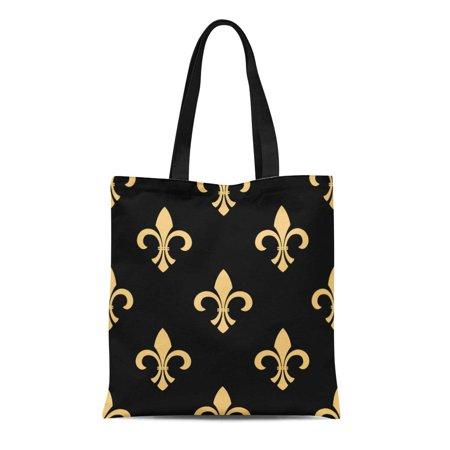KDAGR Canvas Tote Bag Gothic Vintage Fleur De Lis Yellow Flowers on Interior Reusable Shoulder Grocery Shopping Bags Handbag