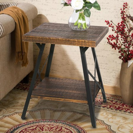 - Harper&Bright designs Solid Wood Coffee Table with Metal Legs, End Table/Living Room Set