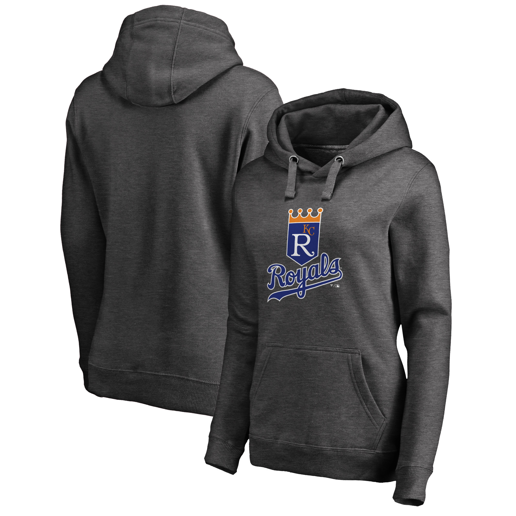 Kansas City Royals Fanatics Branded Women's Cooperstown Collection Huntington Pullover Hoodie - Heathered Gray