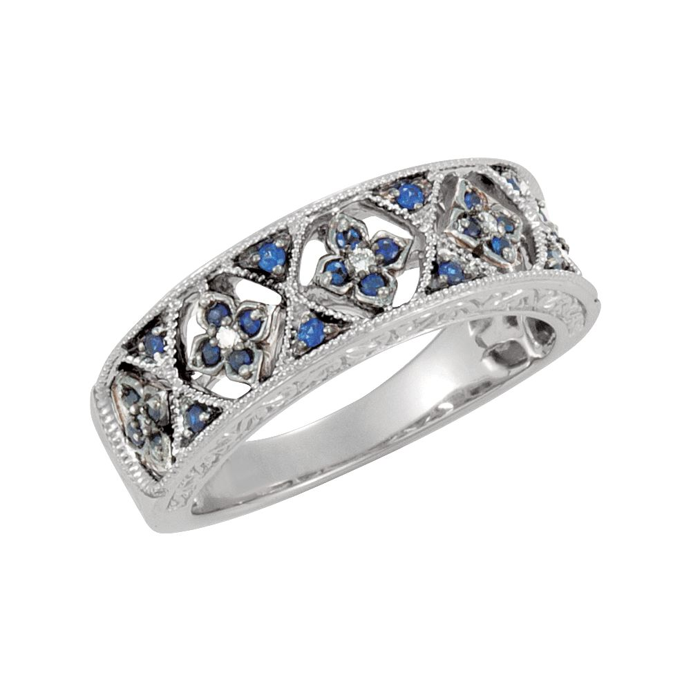 14K White Gold Simple Blue Sapphire and Diamond Ring