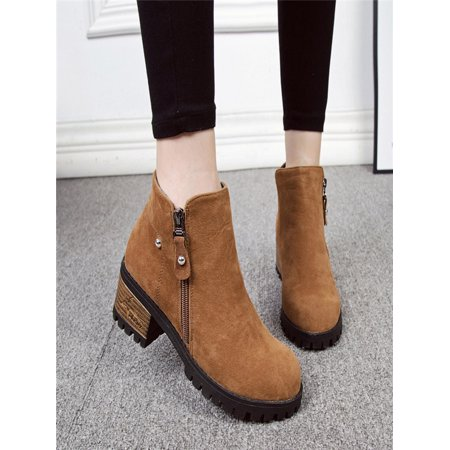0677f55ad7 Unbranded - Women Boots Rivets Shoes Martain Boots Suede Ankle Boots High  Heeled Zipper Boot - Walmart.com