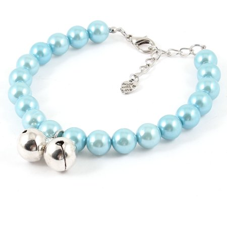 Blue Imitation Pearl Decor Lobster Clasp Pet Dog Poodle Cat Collar Necklace (Best Collars For Poodles)