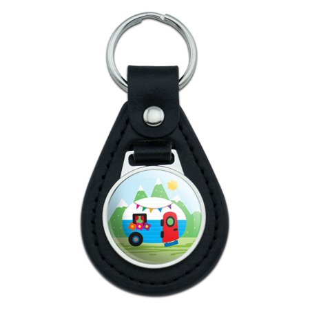 Vintage Retro Camper Trailer Black Leather Keychain (Camper Keychain)