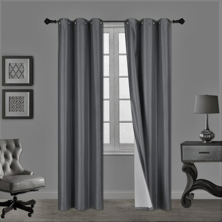 (SSS) 2-PC Charcoal Solid Blackout Room Darkening Panel Curtain Set, Two (2) Window Treatments of 37