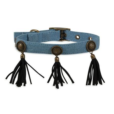 MuttNation Denim Concho and Fringe Custom Fit Dog Collar Blue Small 5/8x8-12 inch