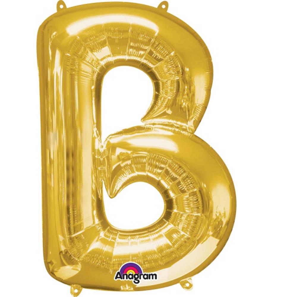 """Giant Gold Letter B Foil Balloon 34"""""""