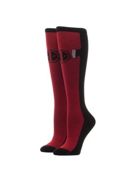 3510f98f3336a Product Image Red and Black Deadpool Print Knee Socks