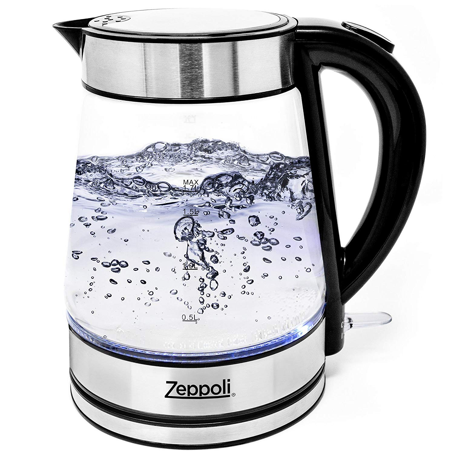 Zeppoli Electric Kettle - Glass Tea Kettle (1.7L) Fast Boiling and Cordless, Stainless Steel Finish Hot Water Kettle – Hot Water Dispenser - Glass Tea Kettle, Tea Pot