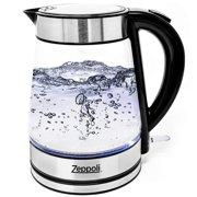 Zeppoli Electric Kettle - Glass Tea Kettle (1.7L) Fast Boiling and Cordless, Stainless Steel Finish Hot Water Kettle  Hot Water Dispenser - Glass Tea Kettle, Tea Pot