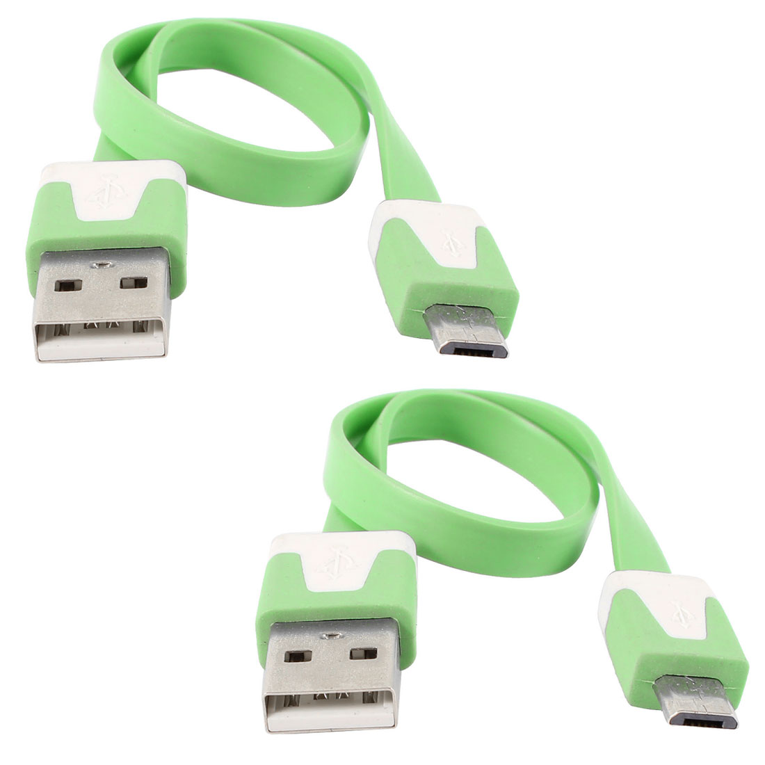 Unique Bargains 2pcs Green USB2.0 A to Micro B 5Pin M/M Data Charger Flat Cable for HTC