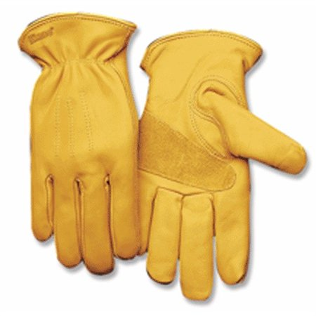 198-Xl X-Large Gold Cowhide Driver Gloves W/Suede Palm & Keystone Thumb