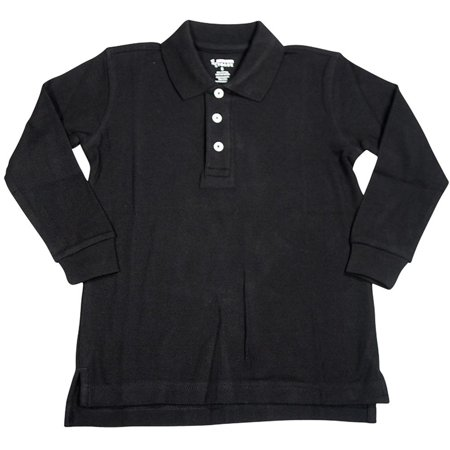 French Toast School Uniform Unisex Long Sleeve Pique Polo Shirt (Husky Sizes), 33386 BLACK / 16Husky