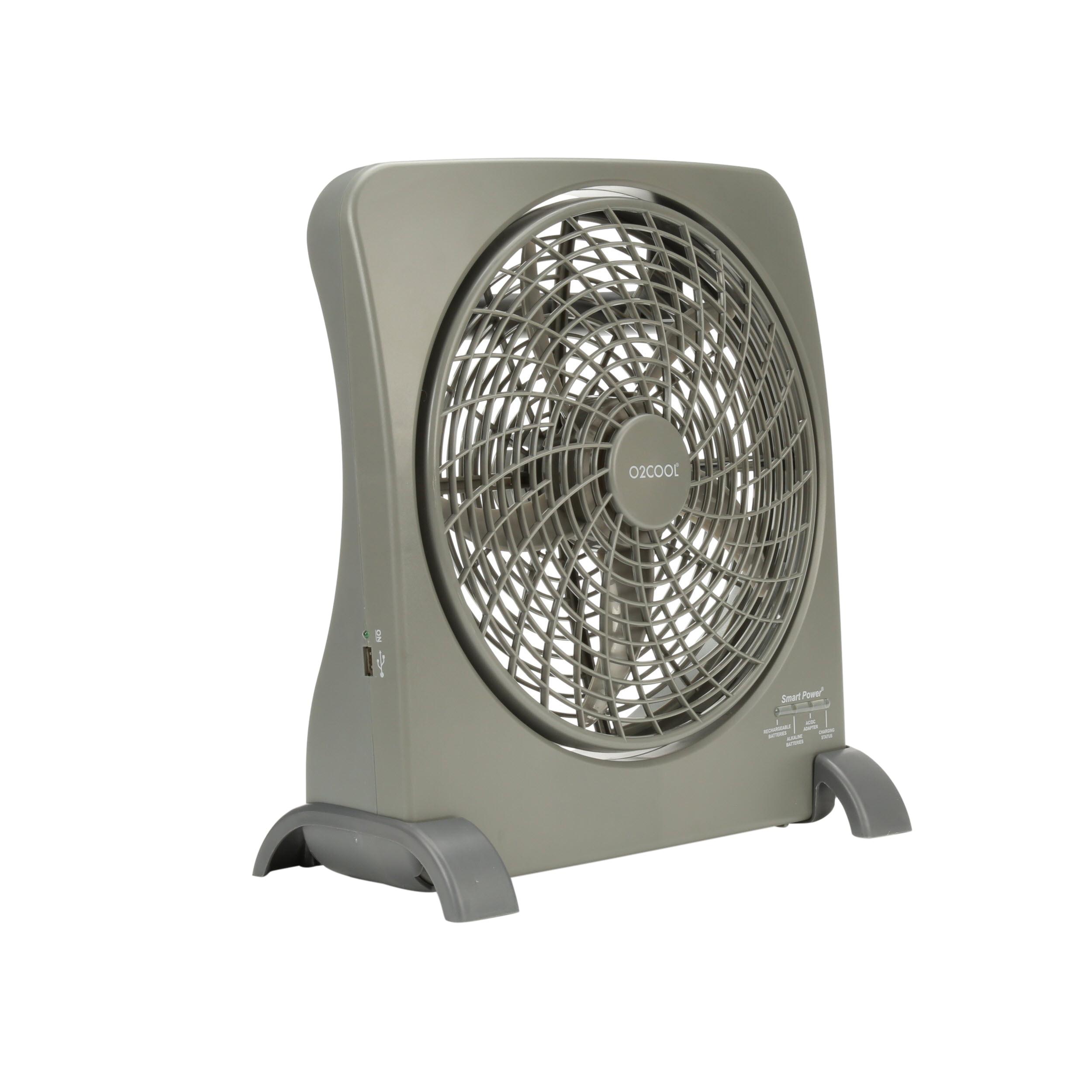 """O2COOL 10"""" Smart Power Rechargeable Portable 2-Speed Fan, Model #FD10006AU, Black"""