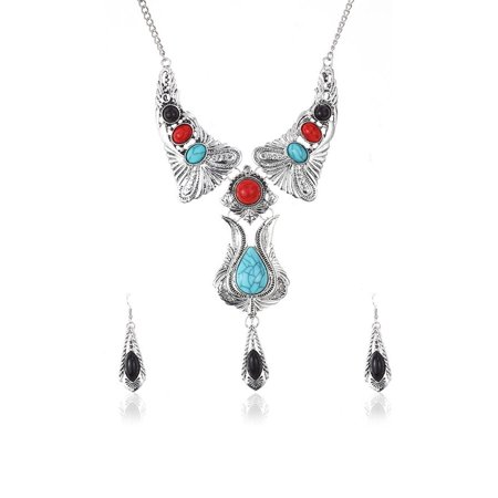 Turquoise Nugget Set - Novadab Dream Native Estate Turquoise Coral Statement Necklace With Earrings Jewelry Set For Women