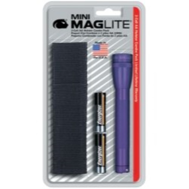 Mag Instrument Mini-MagLite Purple Flashlight Kit with Holster and 2 AA Batteries MagM2A98H by