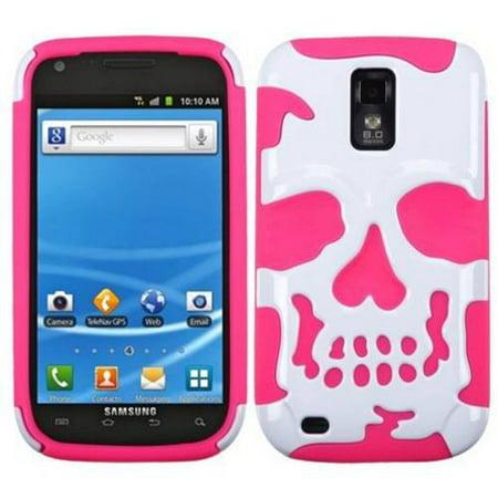 Samsung T989 Galaxy S II MyBat Skullcap Hybrid Protector Cover, Ivory White/Electric Pink
