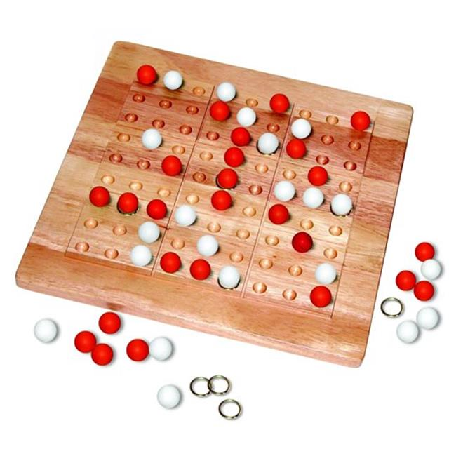 Tic-Tac-Ku Solid Wood Game Rred And White - image 1 de 1